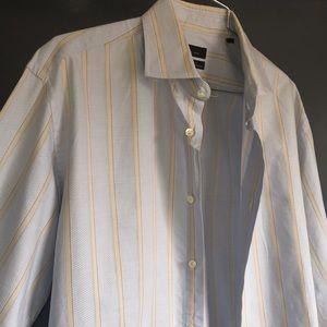 Zara - 16 Slim Fit. blue & Cream Striped Pattern.